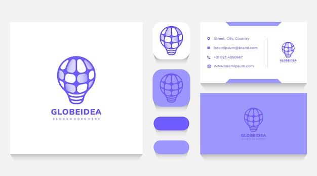 Globe lightbulb idea logo template and business card