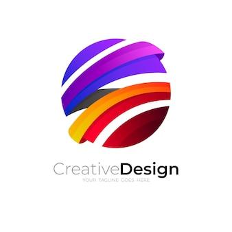 Глобус логотип и красочный дизайн иллюстрации, 3d красочный