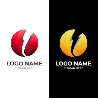 地球のロゴと雷のデザインの組み合わせ、シンプルなロゴのテンプレート