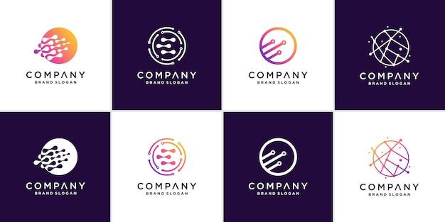 Коллекция логотипов глобуса с современной концепцией премиум