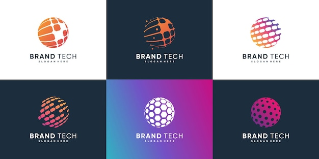 Коллекция логотипов глобус с технологической концепцией premium vector часть 2