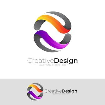 シンプルなデザインのベクトル、3 d のカラフルな地球のロゴ