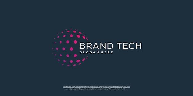 Globe logo with technology concept premium vector