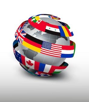 旗のストリップで作られた地球儀。
