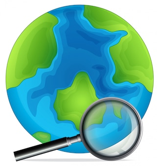 A globe and magnifying glass