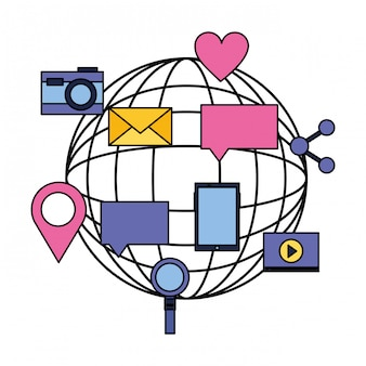 Globe mobile email speech bubble social media