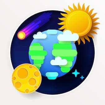 Globe moon sun and stars