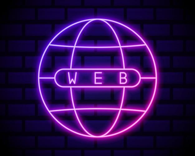 グローブネオンライトアイコン。インターネットカフェの光る看板。地球球体モデル。グローバルネットワーク。