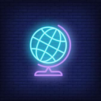 Globe neon sign. blue globe on stand. night bright advertisement.