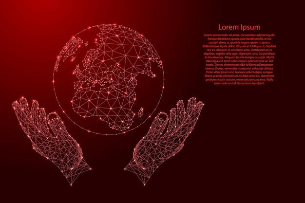 地球の地球と2つの保持、未来的な多角形の赤い線から手を保護