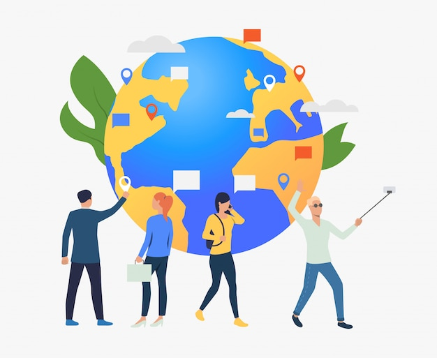 Globe and people using gadgets illustration