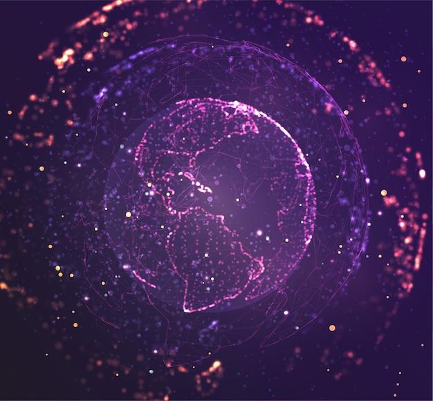 地球、惑星地球、点から。コンセプトビッグデータ、処理およびデータ収集