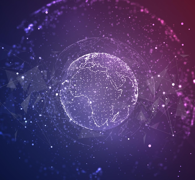 Globe, planet earth, from dots. concept bigdata, processing and data collection