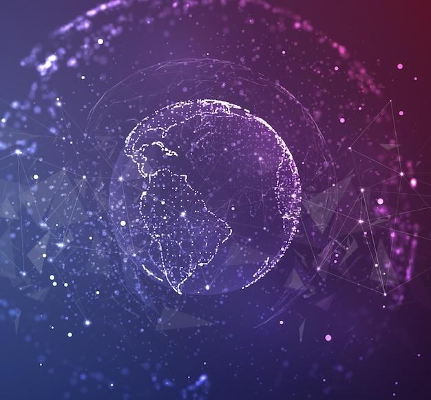 Глобус, планета земля, из точек