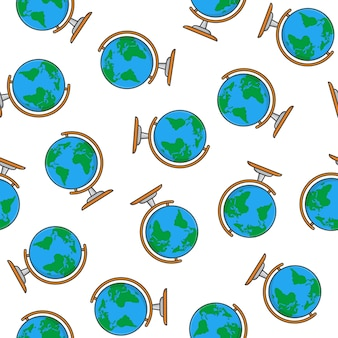 Globe seamless pattern on a white background. world map icon vector illustration