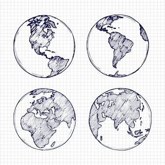 Globe sketch. hand drawn earth planet with continents vector illustration