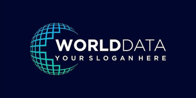 Globe tech logo design vector symbol icon.