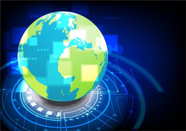 Globe on technology ground