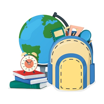 Globe and textbook, school book and backpack, alarm