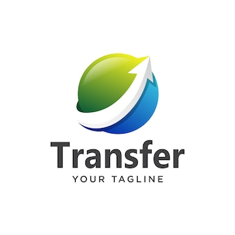 Globe transfer logo simple 3d