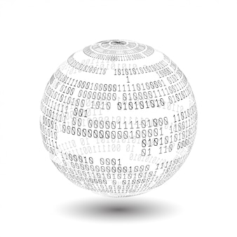 バイナリコードを持つグローブ。バイナリコードのボール。デジタル技術。データの並べ替え。人工知能、ビッグデータ、スマートシステム。