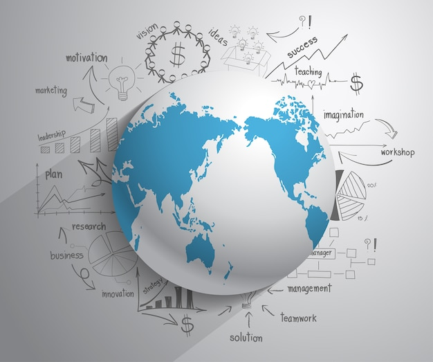 Globe with drawing chart and graphs business plan