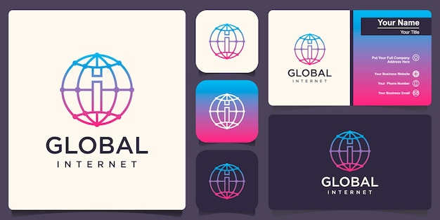 Globe with i logo vector logo design template.