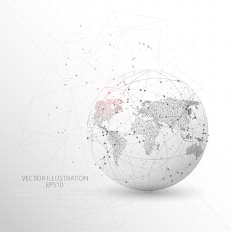 Globe world map shape digitally drawn low poly wire frame