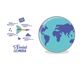 Globe world with dart and social media set icons