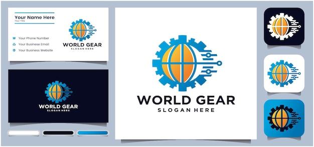 Globes and gears vector icon world tech logo design logo design template