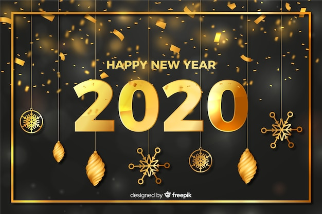 Globes and stars new year 2020