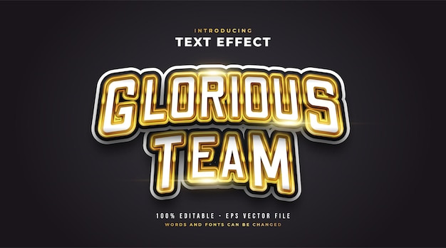 Glorious e-sport text style effect in white and gold. editable text style effect