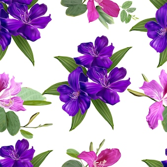 Glory bush and bauhinia  flowers seamless pattern