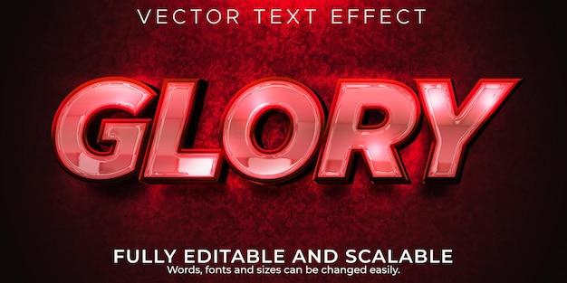 Слава роскошный текстовый эффект, редактируемый блестящий и элегантный стиль текста
