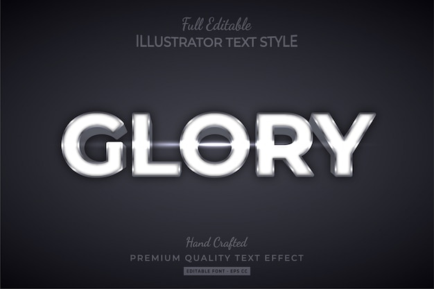 Glory silver editable 3d text style effect premium