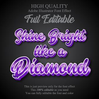Gloss purple script editable graphic style text effect