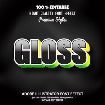 Gloss text, editable font effect
