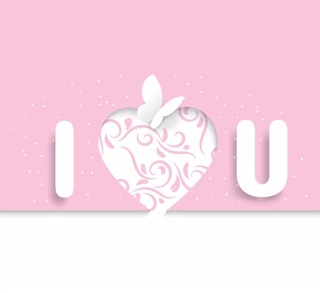 Glossary of i love you and butterflies that look like paper-cut, with a pink   with a heart shape and ivy, valentine's day,wedding