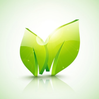 Glossy 3d green leaves for ecology or nature concept.