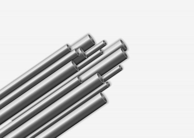 光沢のある3d鋼管デザイン。産業、金属パイプライン製造コンセプト。白い背景に分離されたさまざまな直径の鋼またはアルミニウムのパイプ。