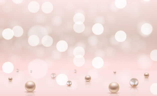 リアルな真珠と光沢のある抽象的な背景 Premiumベクター