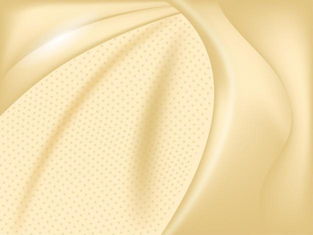 点線のパターンと光沢のある抽象的な黄金のシルクの背景。