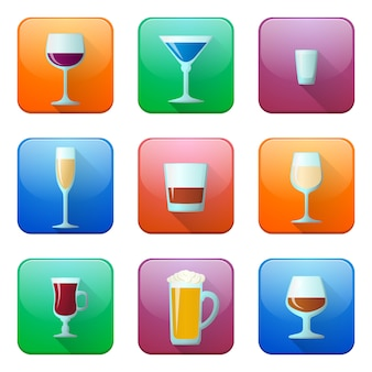 Glossy alcohol glasses icons set