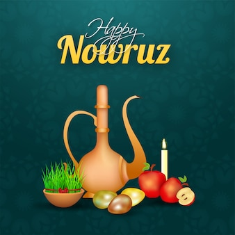 Glossy arabic jug with eggs, apples, illuminated candle and semeni (grass) bowl on green mandala pattern background for happy nowruz celebration.