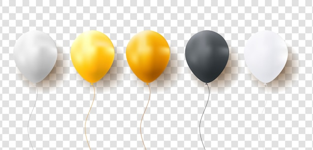 Glossy balloons on transparent background