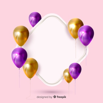 Glossy balloons with blank banner 3d effect on pink background