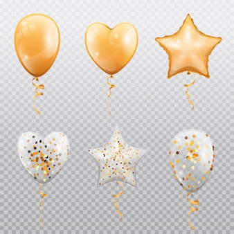 Glossy balloons with confetti isolated on transparent background vector golden heart star or circle