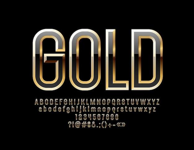 광택있는 검정과 금색 글꼴. 고급 알파벳 문자, 숫자 및 기호