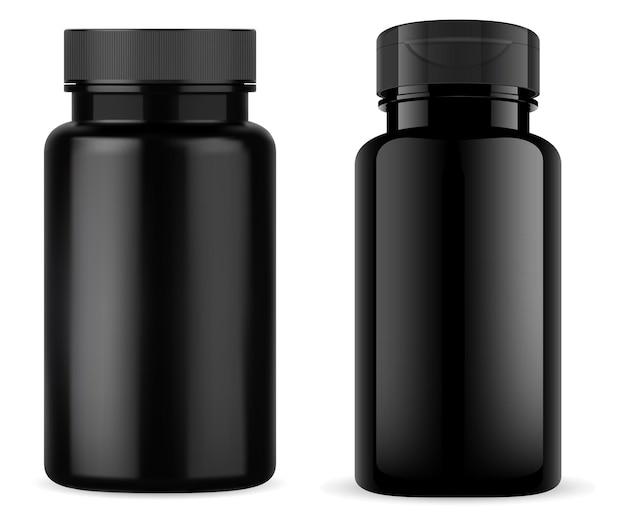 광택있는 검은 색 플라스틱 정제 병, 비타민 용기