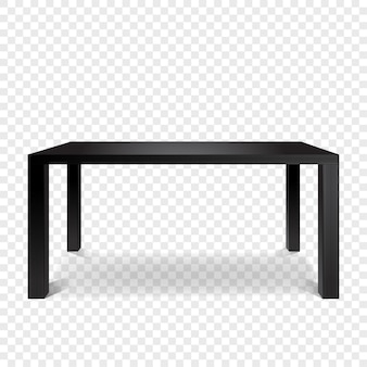 Glossy black table front view.